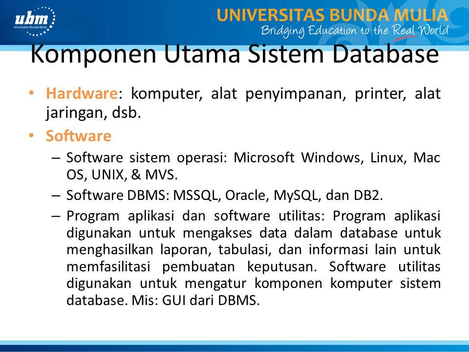 Komponen Utama Sistem Database Hardware: komputer, alat penyimpanan, printer, alat jaringan, dsb. Software – Software sistem operasi: Microsoft Window