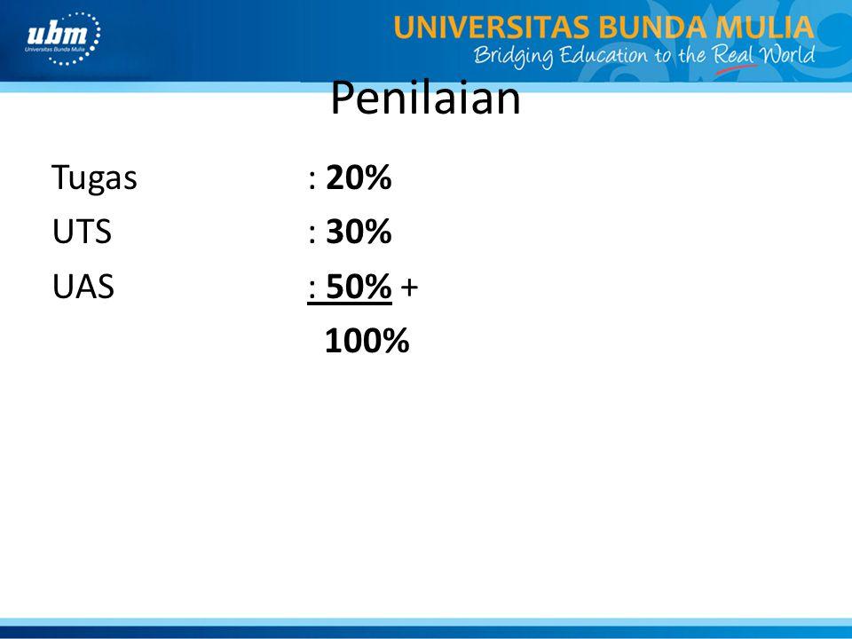 Penilaian Tugas: 20% UTS: 30% UAS: 50% + 100%
