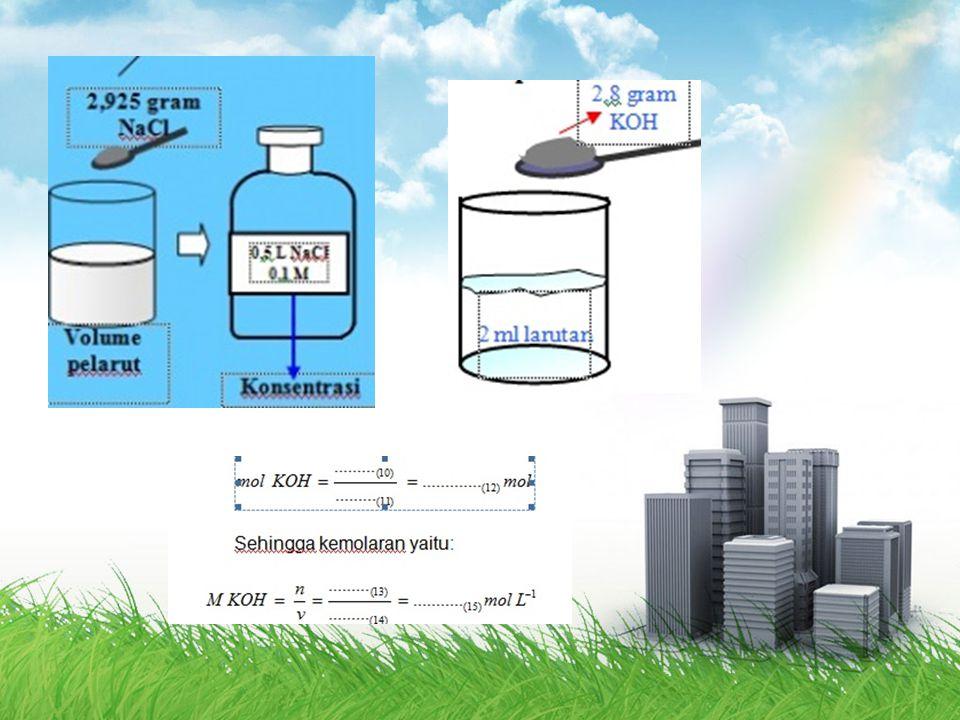 Konsentrasi Molaritas M = molaritas (mol/liter) n = mol zat terlarut (mol) V = volume larutan (liter) M = molaritas (mol/liter) n = mol zat terlarut (mol) V = volume larutan (liter)