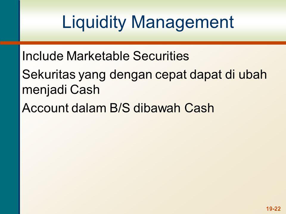 Include Marketable Securities Sekuritas yang dengan cepat dapat di ubah menjadi Cash Account dalam B/S dibawah Cash 19-22
