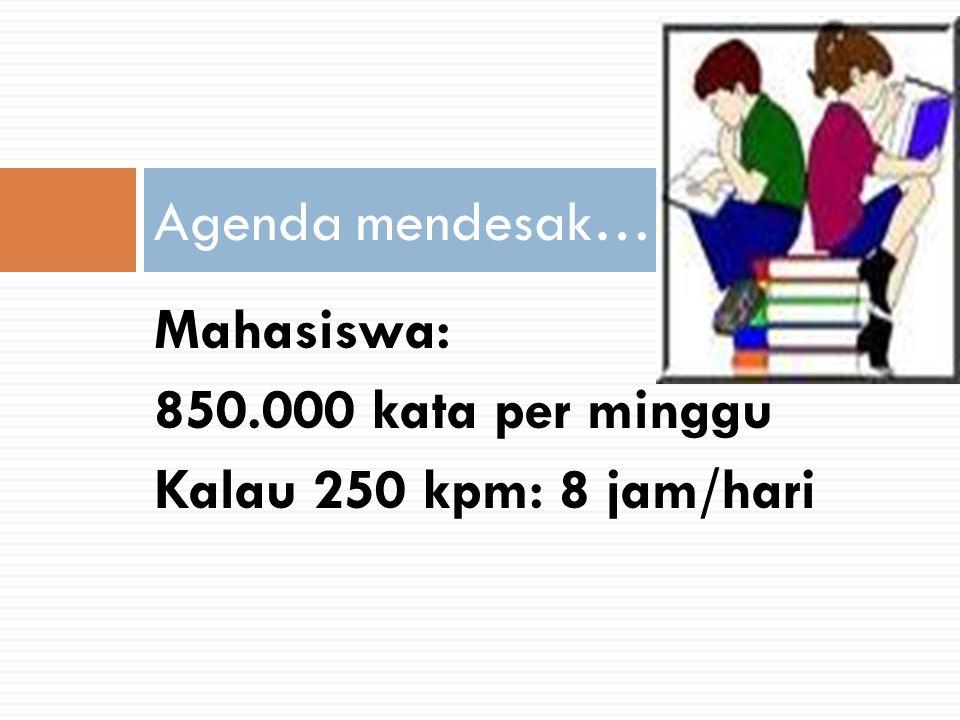 Mahasiswa: 850.000 kata per minggu Kalau 250 kpm: 8 jam/hari Agenda mendesak……………