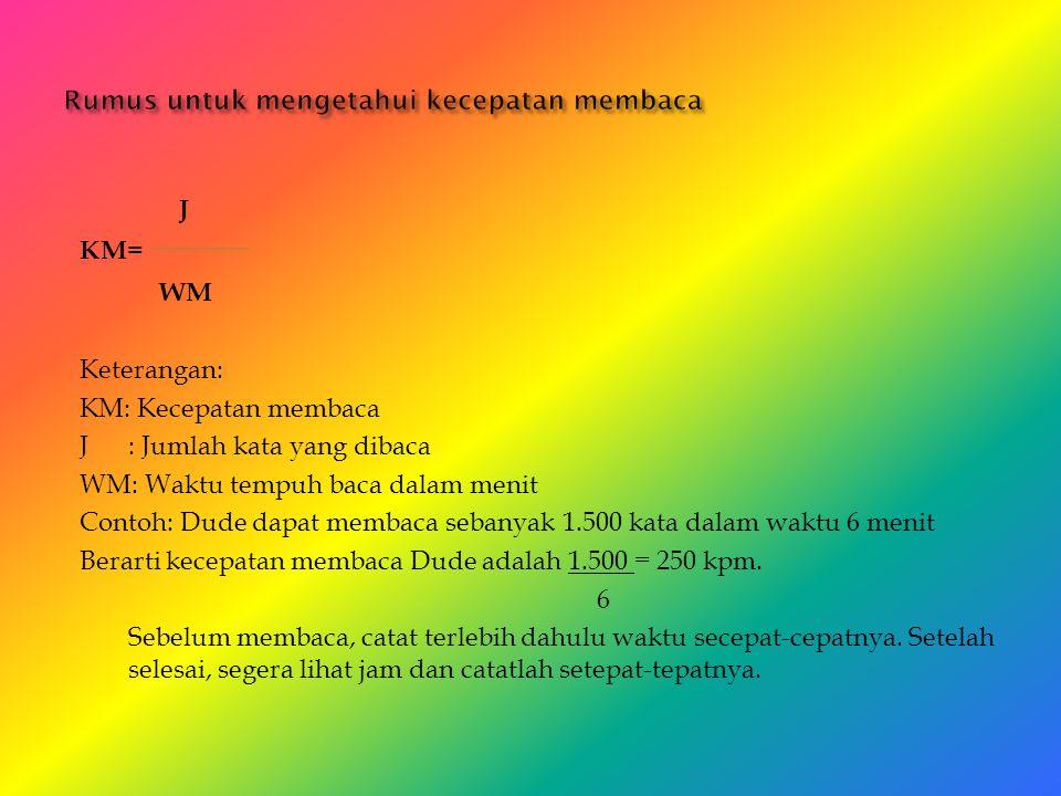 J KM= WM Keterangan: KM: Kecepatan membaca J: Jumlah kata yang dibaca WM: Waktu tempuh baca dalam menit Contoh: Dude dapat membaca sebanyak 1.500 kata