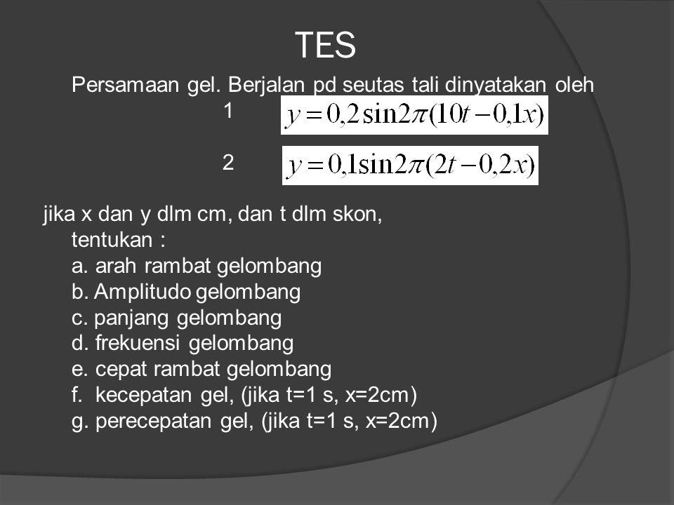 TES Persamaan gel. Berjalan pd seutas tali dinyatakan oleh 1 2 jika x dan y dlm cm, dan t dlm skon, tentukan : a. arah rambat gelombang b. Amplitudo g