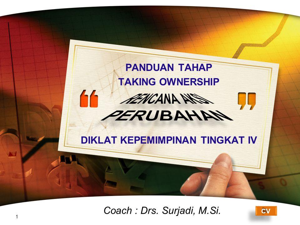 LOGO DIKLAT KEPEMIMPINAN TINGKAT IV 1 CV Coach : Drs. Surjadi, M.Si. PANDUAN TAHAP TAKING OWNERSHIP