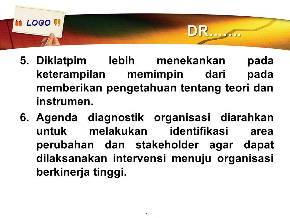 LOGO DR……. 5.Diklatpim lebih menekankan pada keterampilan memimpin dari pada memberikan pengetahuan tentang teori dan instrumen. 6.Agenda diagnostik o