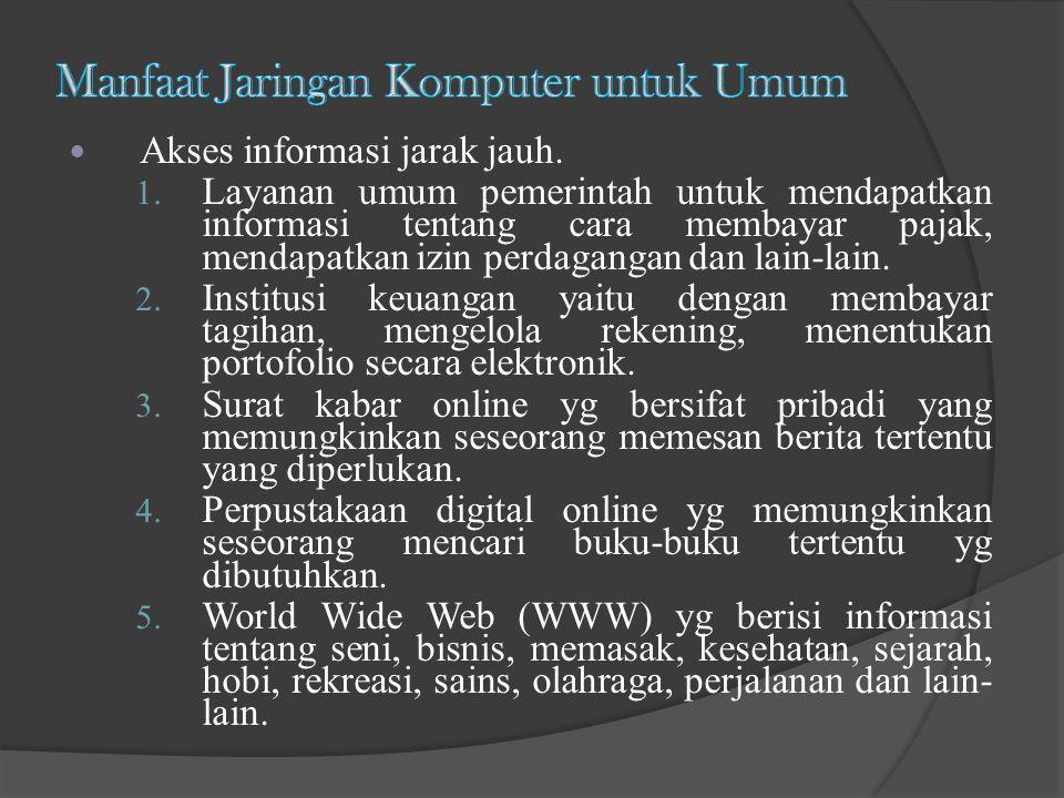 Akses informasi jarak jauh. 1. Layanan umum pemerintah untuk mendapatkan informasi tentang cara membayar pajak, mendapatkan izin perdagangan dan lain-