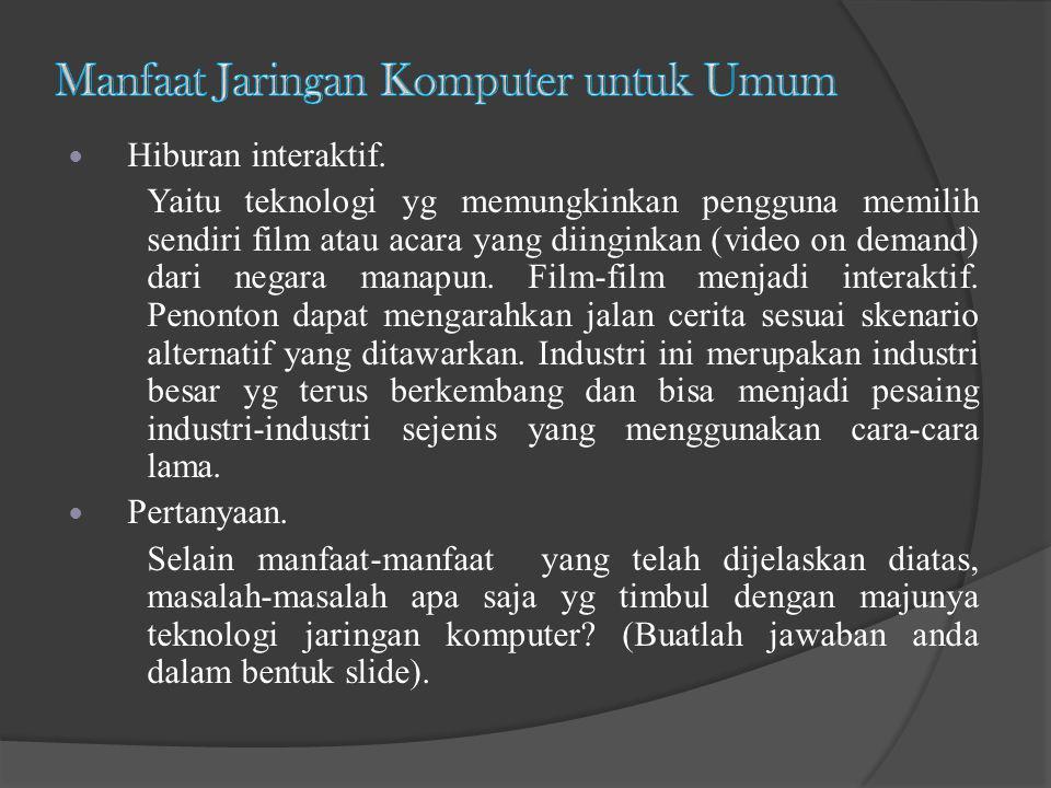 Hiburan interaktif. Yaitu teknologi yg memungkinkan pengguna memilih sendiri film atau acara yang diinginkan (video on demand) dari negara manapun. Fi