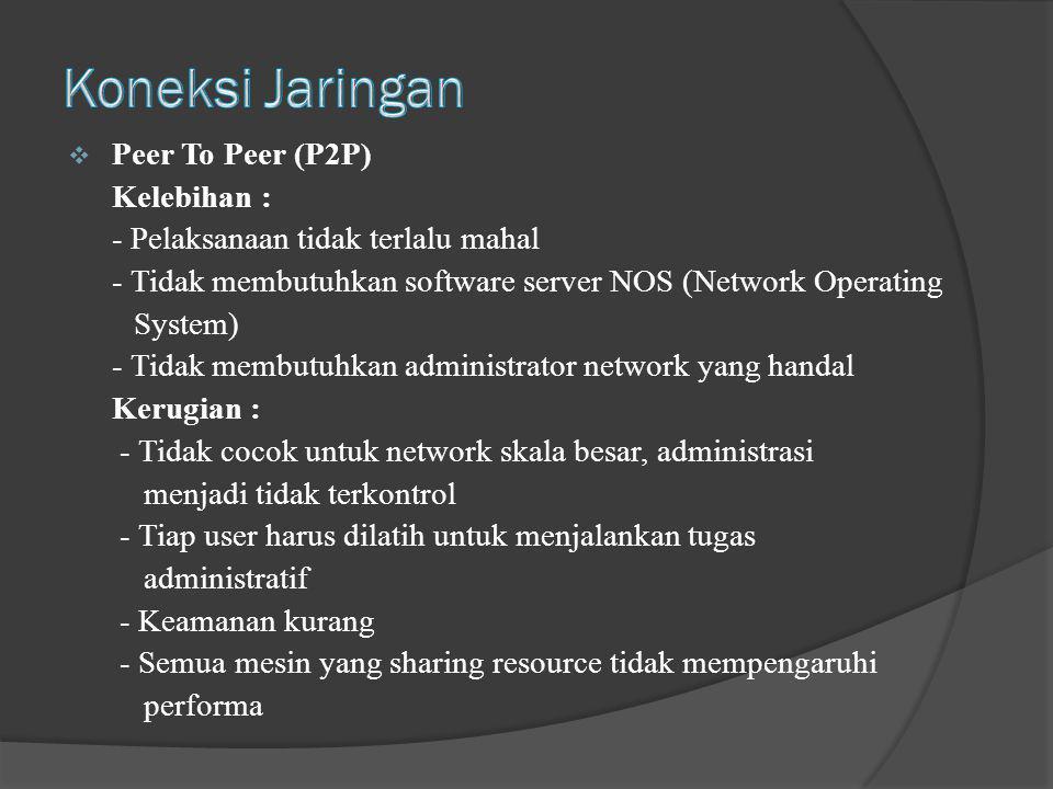  Peer To Peer (P2P) Kelebihan : - Pelaksanaan tidak terlalu mahal - Tidak membutuhkan software server NOS (Network Operating System) - Tidak membutuh