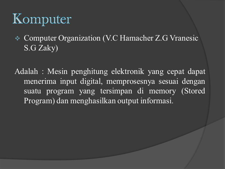 Computer Organization (V.C Hamacher Z.G Vranesic S.G Zaky) Adalah : Mesin penghitung elektronik yang cepat dapat menerima input digital, memprosesny