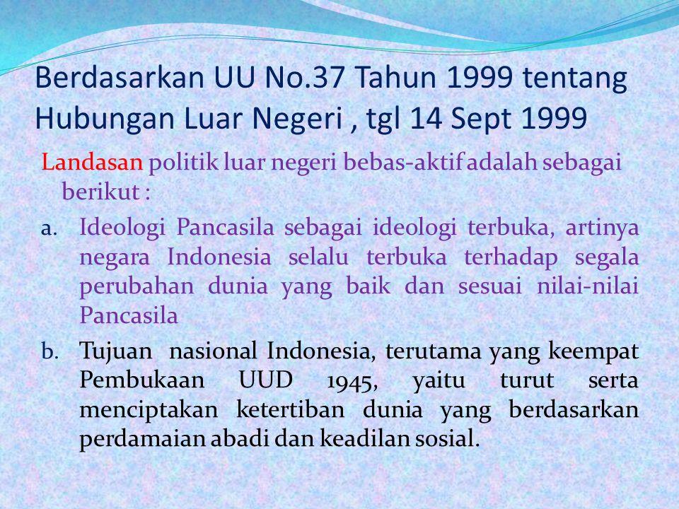 4. Politik Luar Negeri Indonesia Politik luar negeri Indonesia adalah bebas-aktif. Bebas artinya negara Indonesia mengakui kemrdekaan dan kebebasan ne
