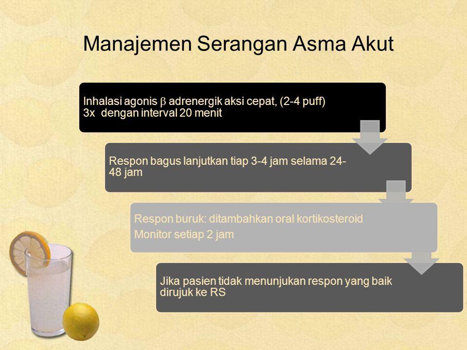 Manajemen Serangan Asma Akut Inhalasi agonis  adrenergik aksi cepat, (2-4 puff) 3x dengan interval 20 menit Respon bagus lanjutkan tiap 3-4 jam selam