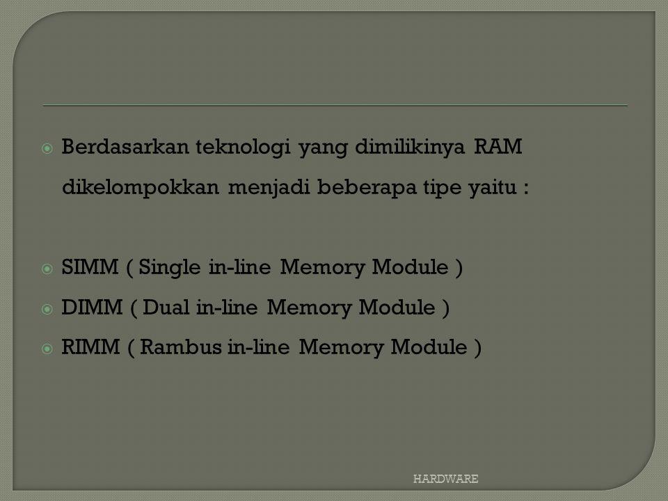  Berdasarkan teknologi yang dimilikinya RAM dikelompokkan menjadi beberapa tipe yaitu :  SIMM ( Single in-line Memory Module )  DIMM ( Dual in-line Memory Module )  RIMM ( Rambus in-line Memory Module ) HARDWARE