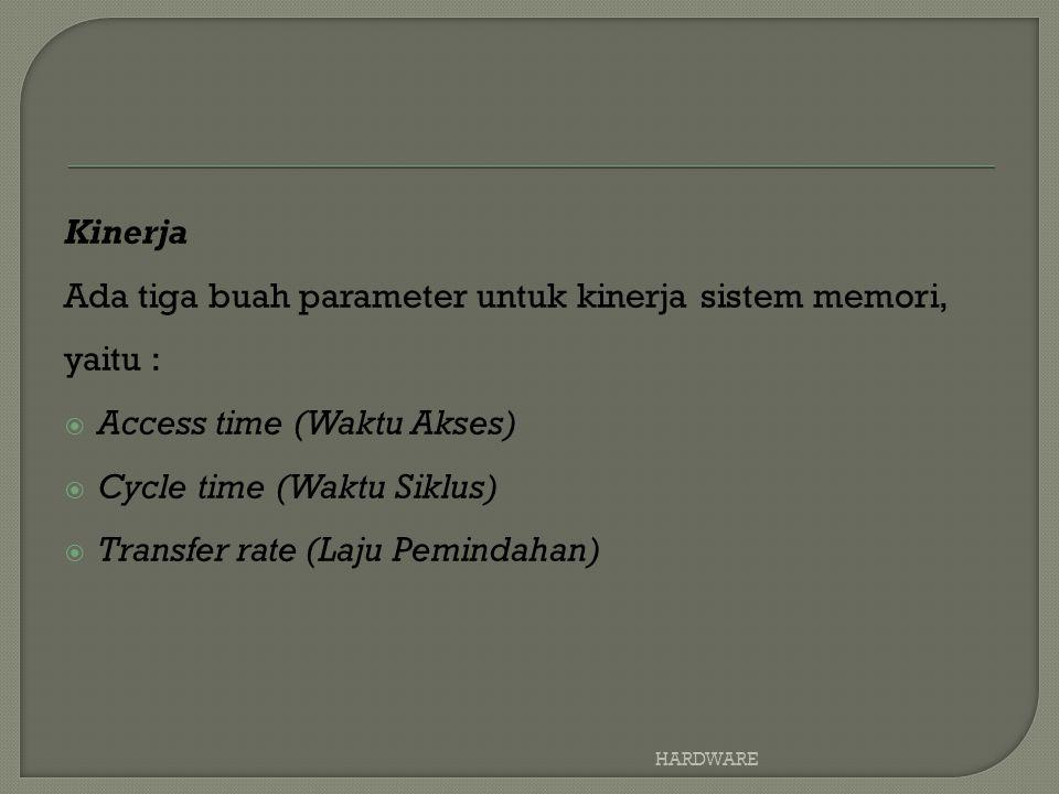 Kinerja Ada tiga buah parameter untuk kinerja sistem memori, yaitu :  Access time (Waktu Akses)  Cycle time (Waktu Siklus)  Transfer rate (Laju Pemindahan) HARDWARE
