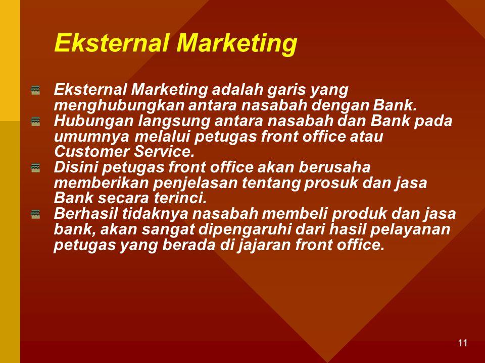 11 Eksternal Marketing Eksternal Marketing adalah garis yang menghubungkan antara nasabah dengan Bank. Hubungan langsung antara nasabah dan Bank pada
