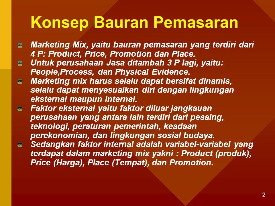 2 Konsep Bauran Pemasaran Marketing Mix, yaitu bauran pemasaran yang terdiri dari 4 P: Product, Price, Promotion dan Place. Untuk perusahaan Jasa dita