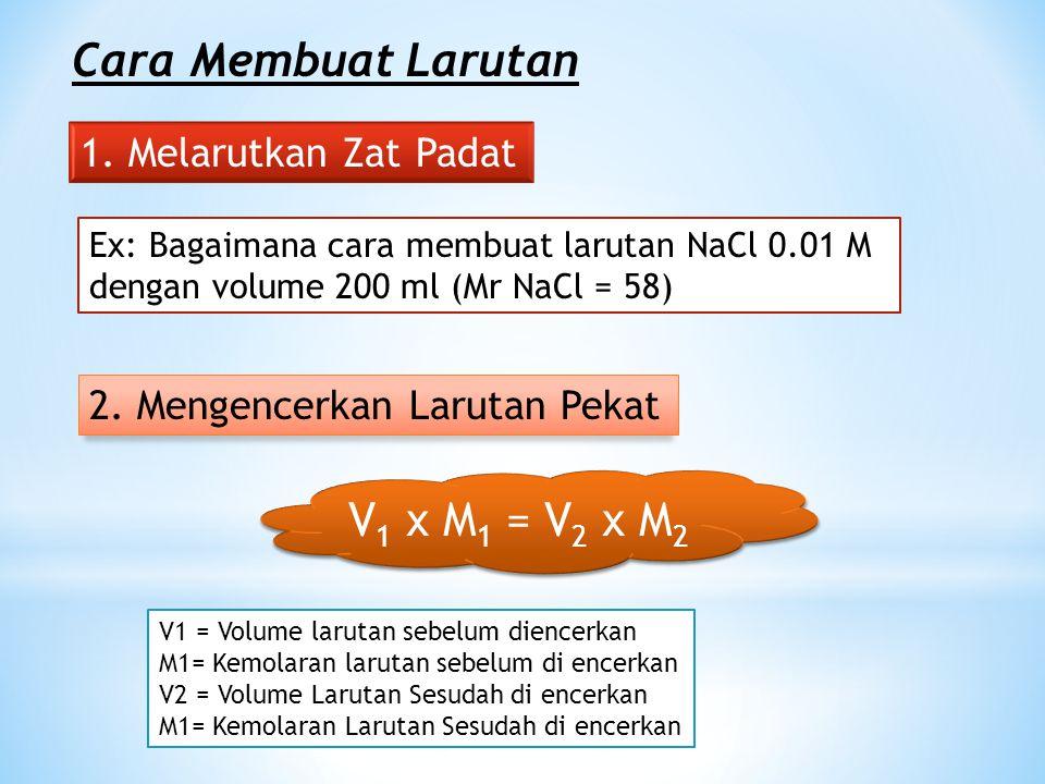 M = Mol Zat Terlarut Liter Larutan M = Mol Zat Terlarut Liter Larutan M = n V M = n V