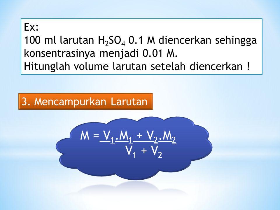 Cara Membuat Larutan Ex: Bagaimana cara membuat larutan NaCl 0.01 M dengan volume 200 ml (Mr NaCl = 58) 2. Mengencerkan Larutan Pekat V 1 x M 1 = V 2
