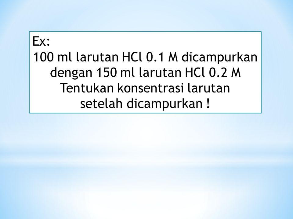 Ex: 100 ml larutan H 2 SO 4 0.1 M diencerkan sehingga konsentrasinya menjadi 0.01 M. Hitunglah volume larutan setelah diencerkan !