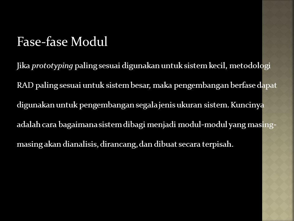 Fase-fase Modul Jika prototyping paling sesuai digunakan untuk sistem kecil, metodologi RAD paling sesuai untuk sistem besar, maka pengembangan berfas