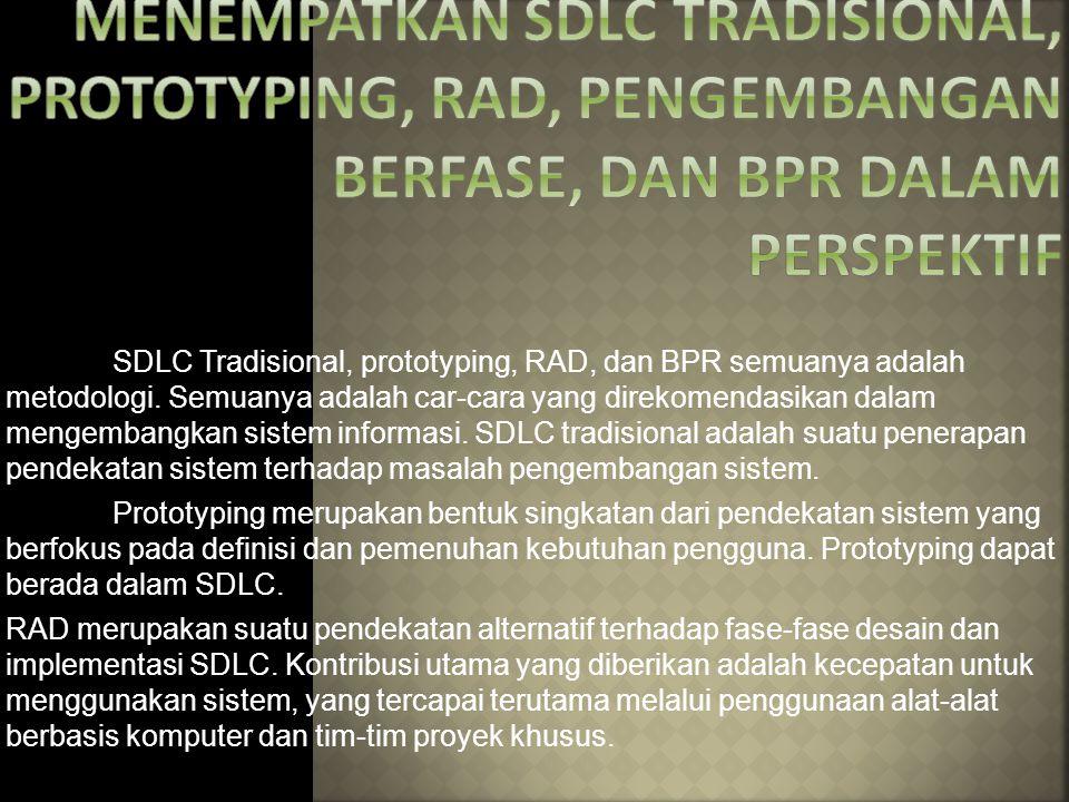 SDLC Tradisional, prototyping, RAD, dan BPR semuanya adalah metodologi. Semuanya adalah car-cara yang direkomendasikan dalam mengembangkan sistem info