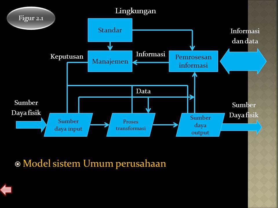  Model sistem Umum perusahaan Figur 2.1 Standar Manajemen Pemrosesan informasi Sumber daya input Proses transformasi Sumber daya output Informasi dan