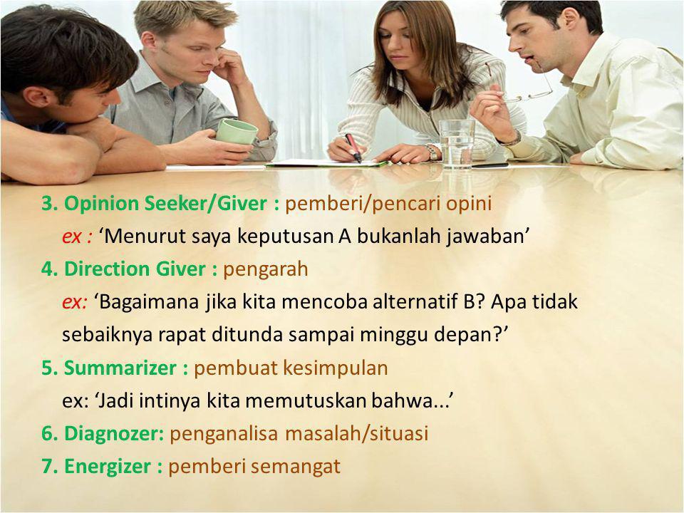 3. Opinion Seeker/Giver : pemberi/pencari opini ex : 'Menurut saya keputusan A bukanlah jawaban' 4. Direction Giver : pengarah ex: 'Bagaimana jika kit