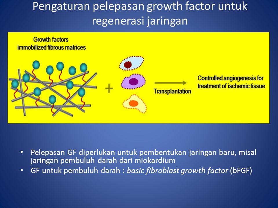 Pengaturan pelepasan growth factor untuk regenerasi jaringan Pelepasan GF diperlukan untuk pembentukan jaringan baru, misal jaringan pembuluh darah dari miokardium GF untuk pembuluh darah : basic fibroblast growth factor (bFGF)