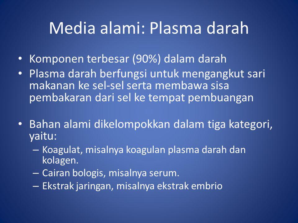 Media alami: Plasma darah Komponen terbesar (90%) dalam darah Plasma darah berfungsi untuk mengangkut sari makanan ke sel-sel serta membawa sisa pembakaran dari sel ke tempat pembuangan Bahan alami dikelompokkan dalam tiga kategori, yaitu: – Koagulat, misalnya koagulan plasma darah dan kolagen.