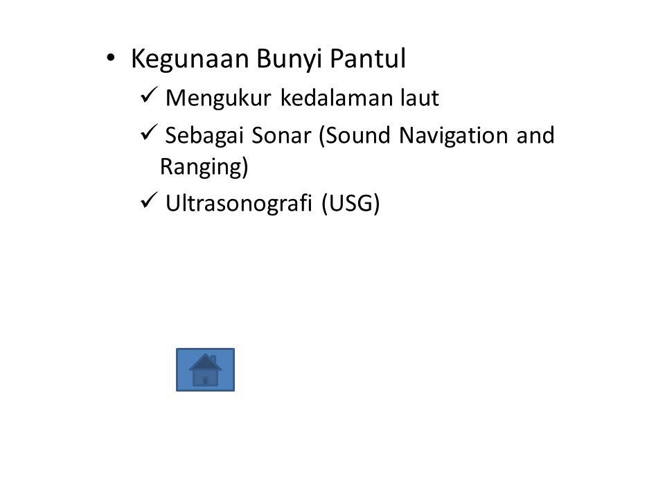 Kegunaan Bunyi Pantul Mengukur kedalaman laut Sebagai Sonar (Sound Navigation and Ranging) Ultrasonografi (USG)