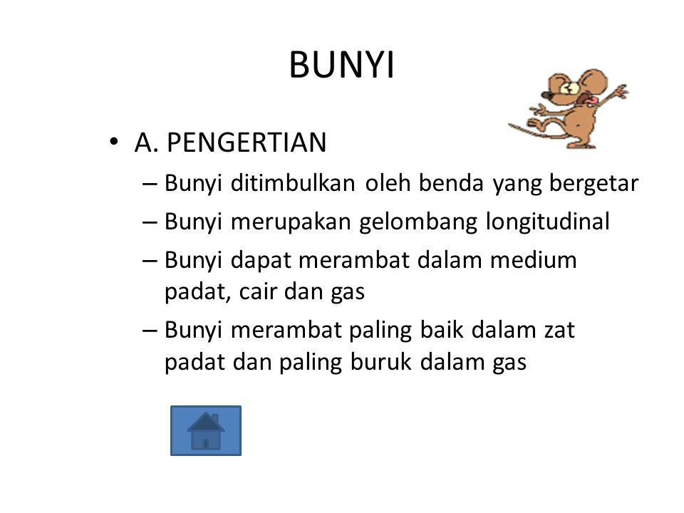 BUNYI A. PENGERTIAN – Bunyi ditimbulkan oleh benda yang bergetar – Bunyi merupakan gelombang longitudinal – Bunyi dapat merambat dalam medium padat, c