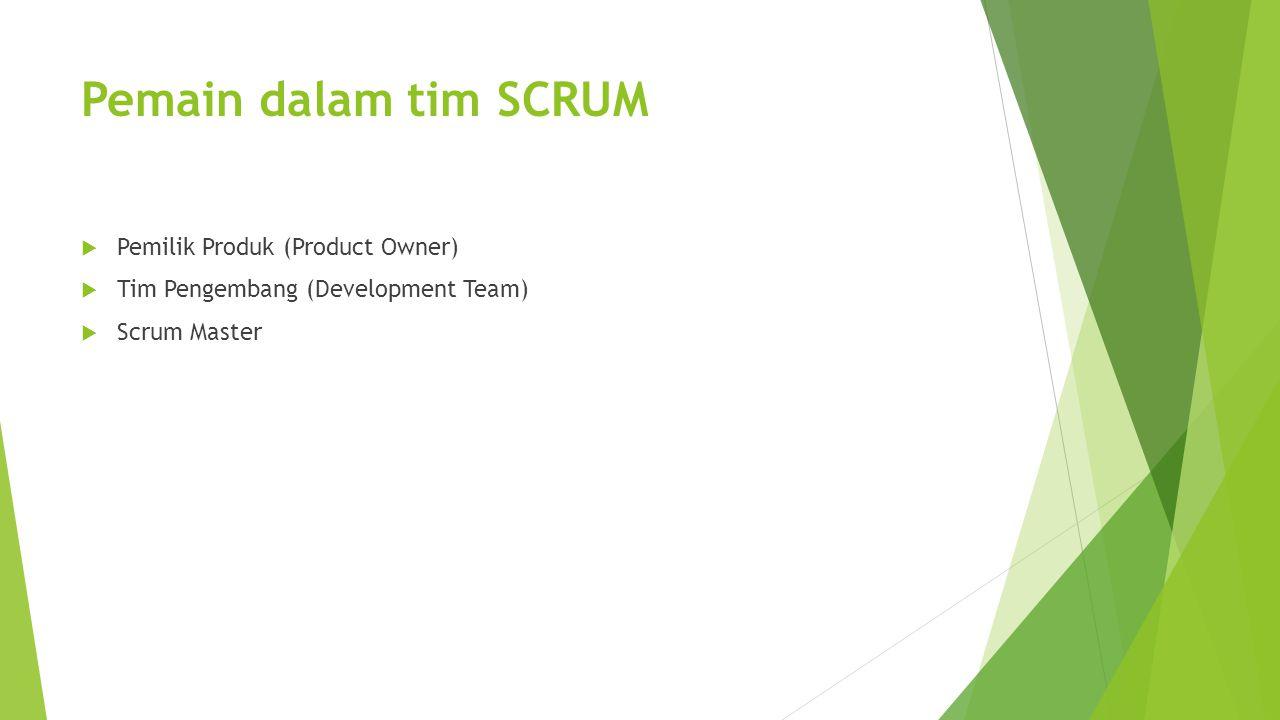 Pemain dalam tim SCRUM  Pemilik Produk (Product Owner)  Tim Pengembang (Development Team)  Scrum Master