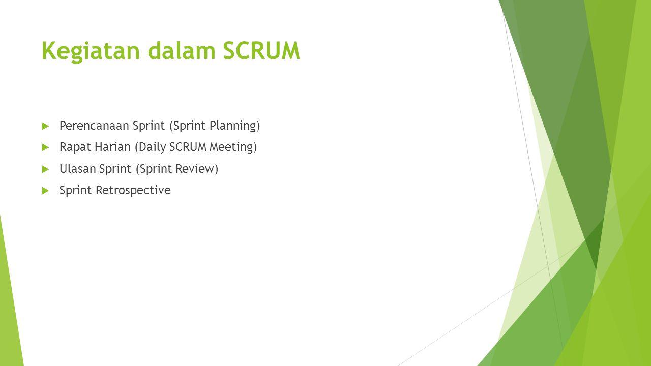 Kegiatan dalam SCRUM  Perencanaan Sprint (Sprint Planning)  Rapat Harian (Daily SCRUM Meeting)  Ulasan Sprint (Sprint Review)  Sprint Retrospective