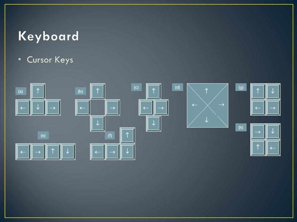 Cursor Keys                    (a)(b) (c)(d) (e)(f) (g) (h)