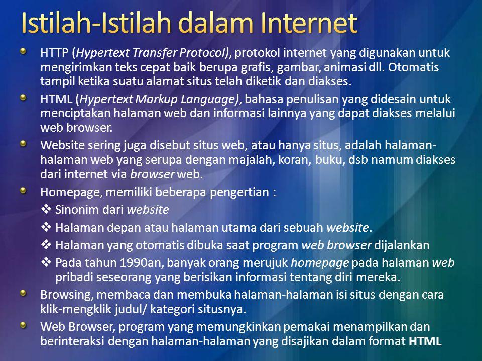 Untuk menggunakan aplikasi internet, Anda memerlukan program untuk berinternet ( biasa disebut browser ).