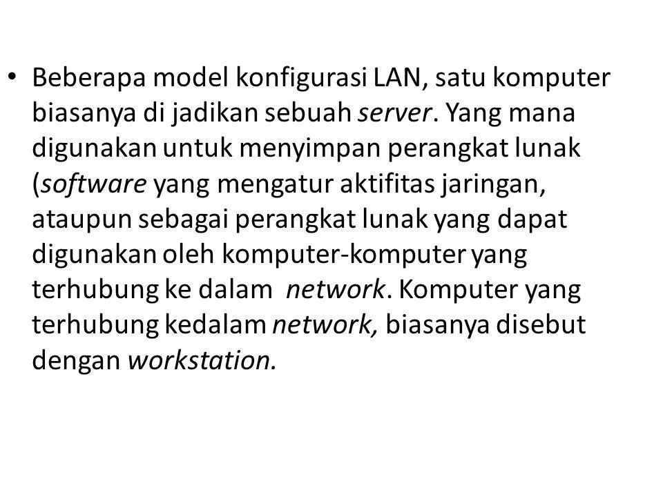 Beberapa model konfigurasi LAN, satu komputer biasanya di jadikan sebuah server. Yang mana digunakan untuk menyimpan perangkat lunak (software yang me