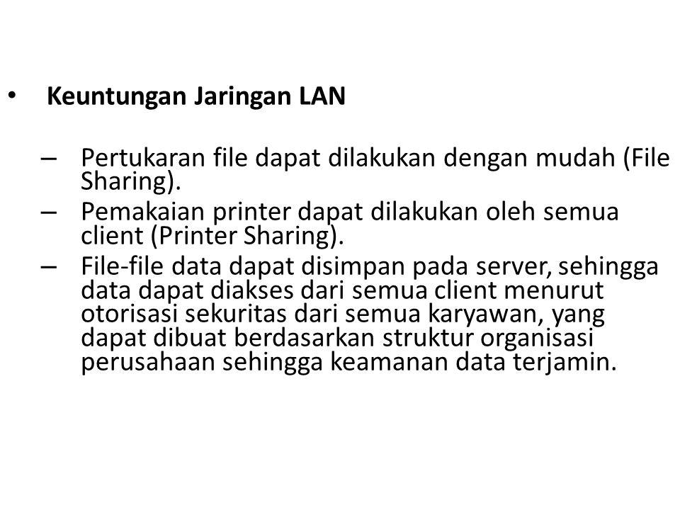 Keuntungan Jaringan LAN – Pertukaran file dapat dilakukan dengan mudah (File Sharing). – Pemakaian printer dapat dilakukan oleh semua client (Printer