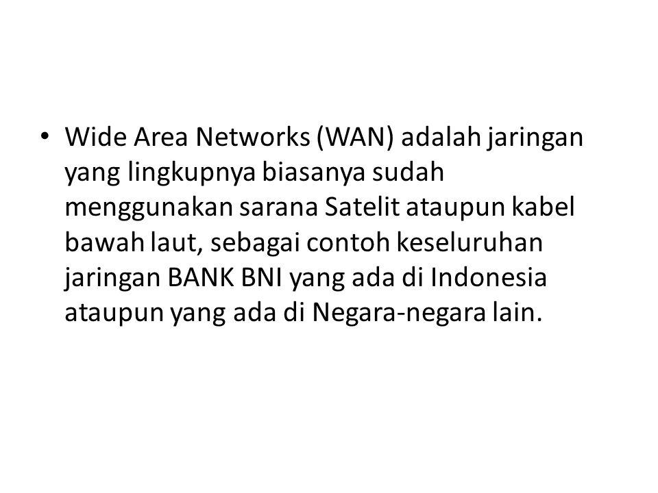 Wide Area Networks (WAN) adalah jaringan yang lingkupnya biasanya sudah menggunakan sarana Satelit ataupun kabel bawah laut, sebagai contoh keseluruha