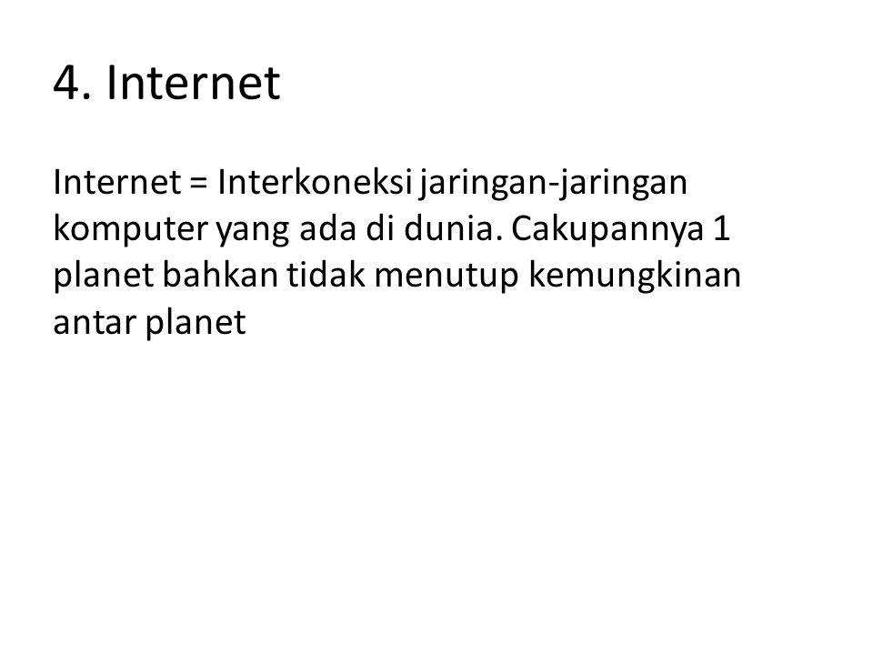 4. Internet Internet = Interkoneksi jaringan-jaringan komputer yang ada di dunia. Cakupannya 1 planet bahkan tidak menutup kemungkinan antar planet