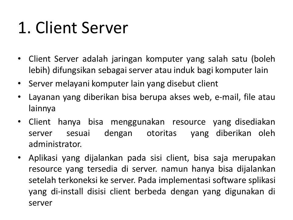 1. Client Server Client Server adalah jaringan komputer yang salah satu (boleh lebih) difungsikan sebagai server atau induk bagi komputer lain Server