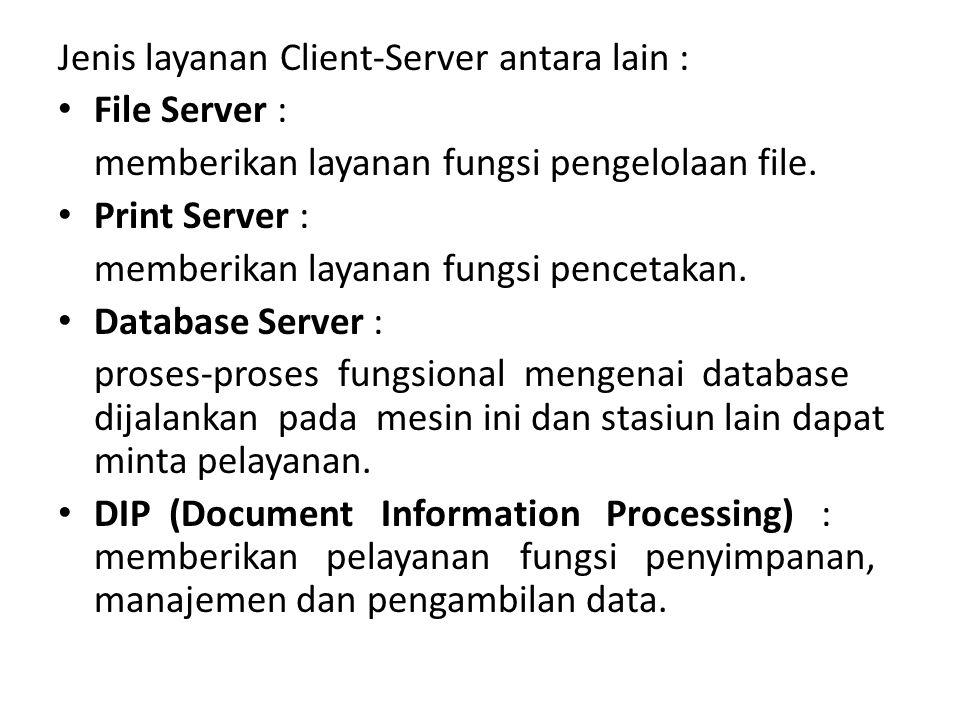 Jenis layanan Client-Server antara lain : File Server : memberikan layanan fungsi pengelolaan file. Print Server : memberikan layanan fungsi pencetaka
