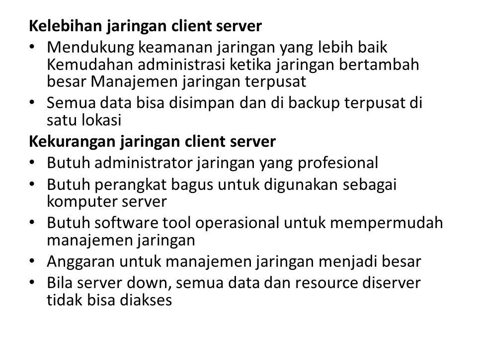 Kelebihan jaringan client server Mendukung keamanan jaringan yang lebih baik Kemudahan administrasi ketika jaringan bertambah besar Manajemen jaringan