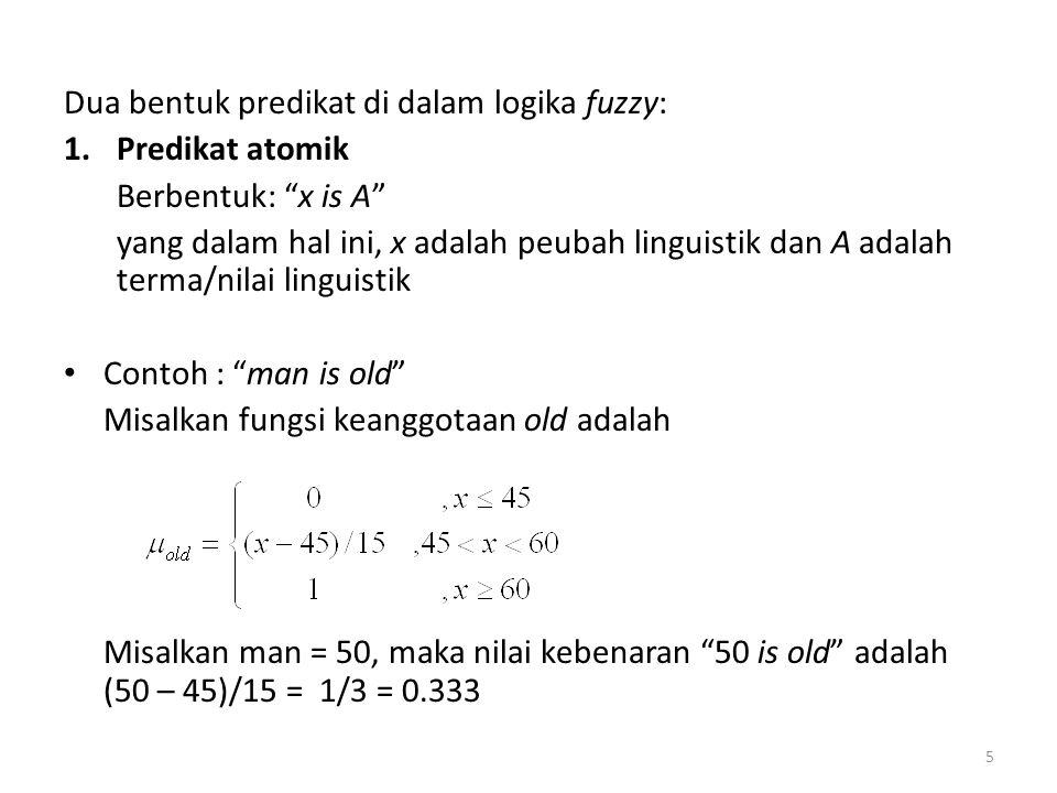 """Dua bentuk predikat di dalam logika fuzzy: 1.Predikat atomik Berbentuk: """"x is A"""" yang dalam hal ini, x adalah peubah linguistik dan A adalah terma/nil"""