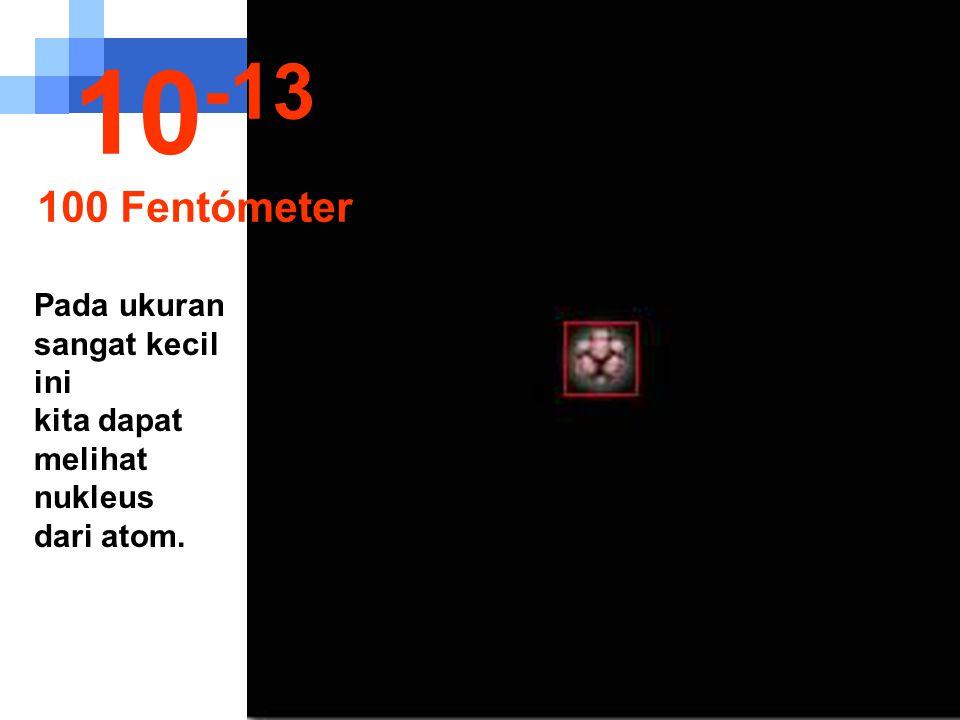 Ruang kosong sangat luas antara nukleus dengan orbit elektron... 10 -12 1 Picómeter