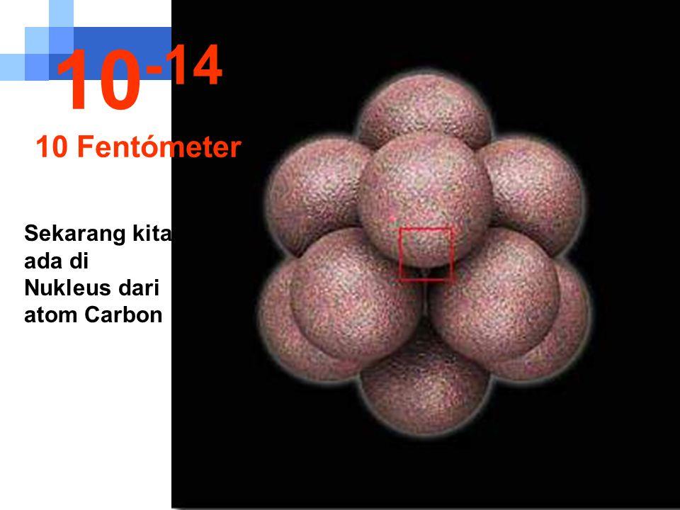 Pada ukuran sangat kecil ini kita dapat melihat nukleus dari atom. 10 -13 100 Fentómeter