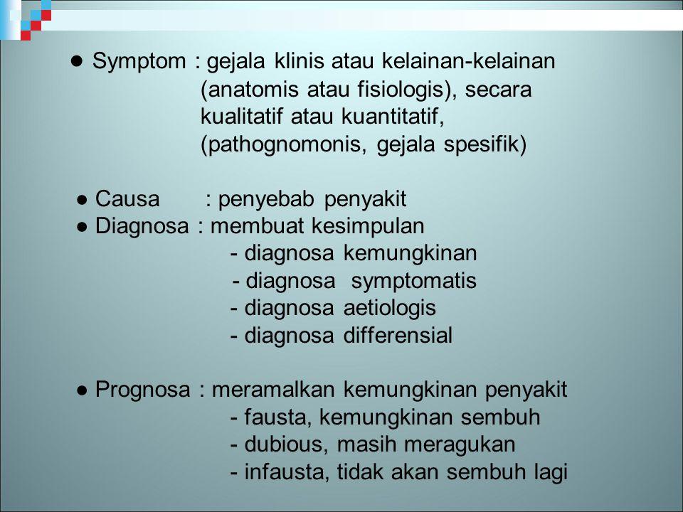 ● Symptom : gejala klinis atau kelainan-kelainan (anatomis atau fisiologis), secara kualitatif atau kuantitatif, (pathognomonis, gejala spesifik) ● Ca