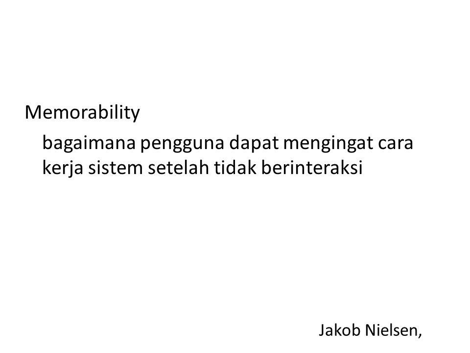 Jakob Nielsen, Memorability bagaimana pengguna dapat mengingat cara kerja sistem setelah tidak berinteraksi