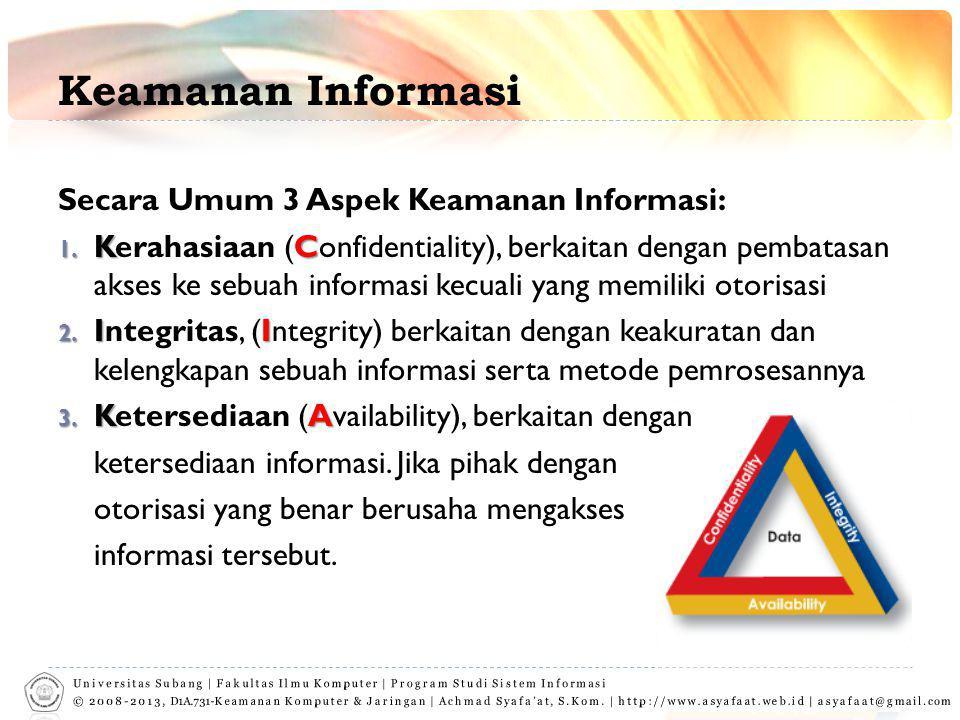 Keamanan Informasi Secara Umum 3 Aspek Keamanan Informasi: 1. KC 1. Kerahasiaan (Confidentiality), berkaitan dengan pembatasan akses ke sebuah informa