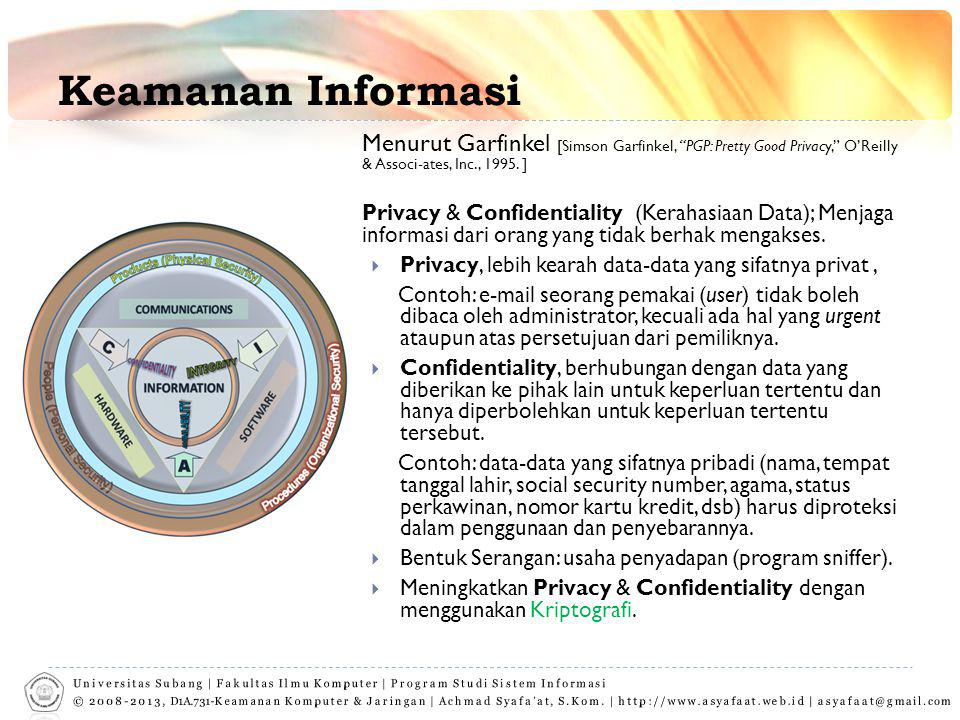 "Keamanan Informasi Menurut Garfinkel [Simson Garfinkel, ""PGP: Pretty Good Privacy,"" O'Reilly & Associ-ates, Inc., 1995. ] Privacy & Confidentiality (K"