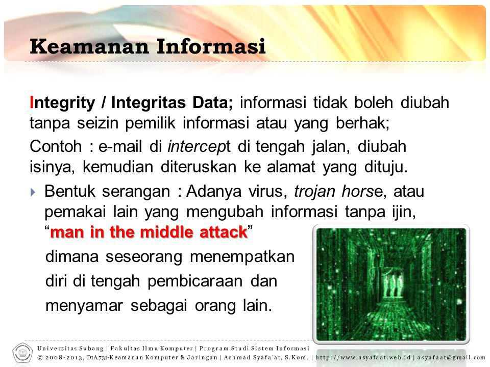 Keamanan Informasi Integrity / Integritas Data; informasi tidak boleh diubah tanpa seizin pemilik informasi atau yang berhak; Contoh : e-mail di intercept di tengah jalan, diubah isinya, kemudian diteruskan ke alamat yang dituju.