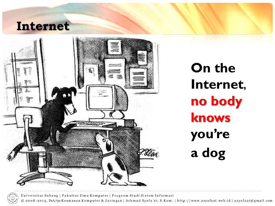 Internet On the Internet, no body knows you're a dog